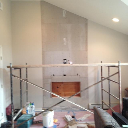 prep for new stone fireplace