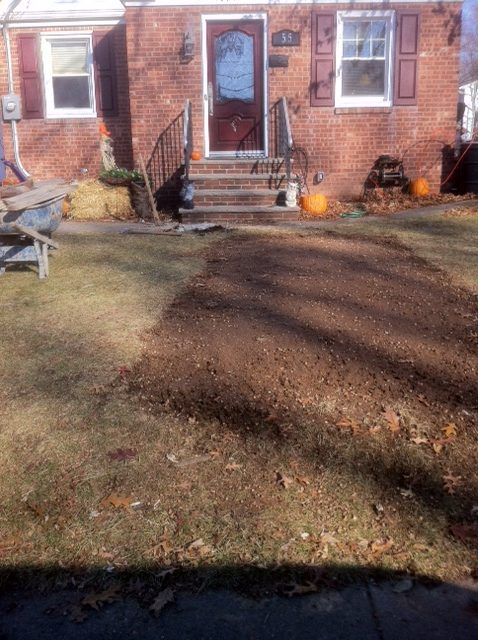 Prep for new stone walkway