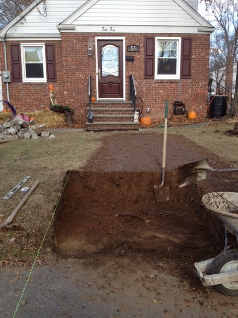 Prepping for new walkway and steps
