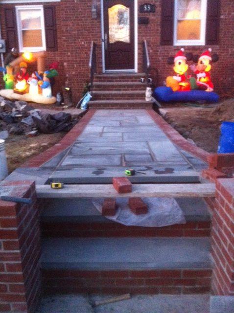 Installation of new stone walkway in waldwick nj