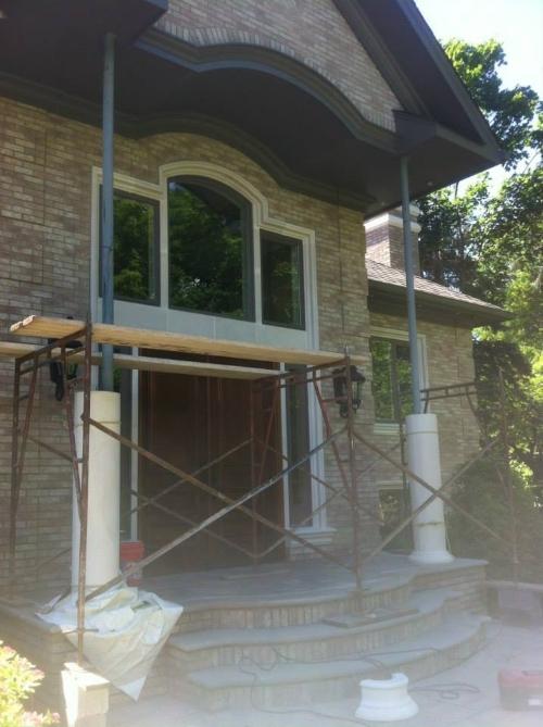 exterior stonework masonry project in progress photo
