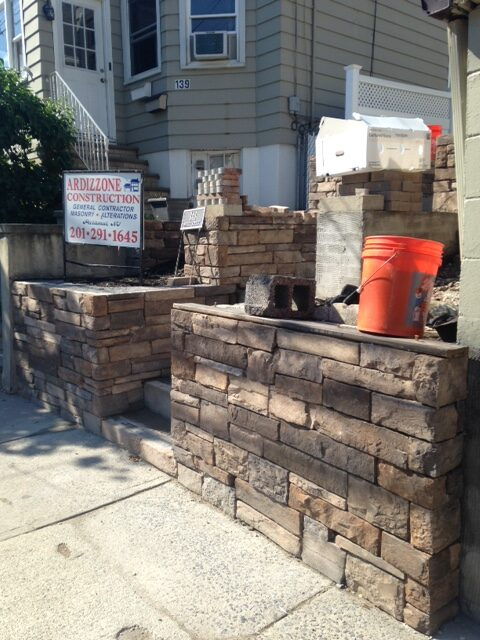 Stone Steps and Wall in Progress Photo