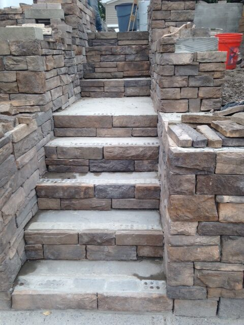 Installation of Stone Steps in Secaucus NJ