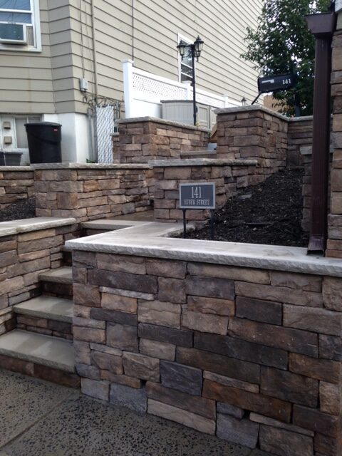 Stone Wall and Steps Installation in Secaucus NJ by Ardizzone Construction