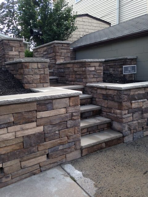 Stone Wall and Stone Steps Installation in Secaucus by Ardizzone Construction