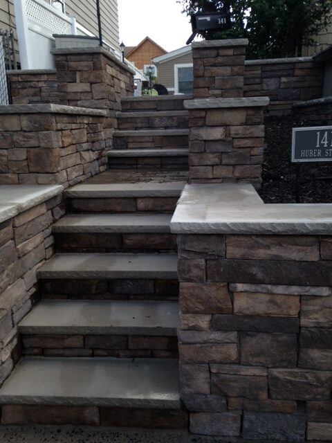 Stone Wall and Steps in Secaucus by Ardizzone Construction